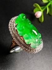 冰阳绿貔貅戒指,色阳,种老,戒指内圈17.5裸石尺寸22.5-11-5