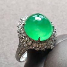 高冰种阳绿蛋面戒指,奢华气质款