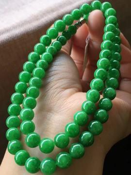 满绿珠珠项链,7-8.5mm,69颗