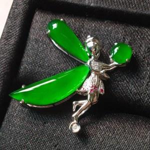 冰阳绿蝴蝶仙子。完美。水头足。裸石尺寸18.5/6/3.5、整体25.3/21.2/6.5