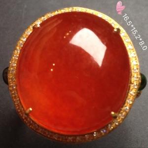 【高冰阳绿,大戒指】红红火火,大件饱满,很冰透,水水润细腻,色泽红艳,完美,18k金奢华钻石镶嵌