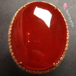 【冰红翡翠,大戒指】大件饱满,水润细腻,色泽红艳,红红火火,完美,18k金奢华钻石镶嵌