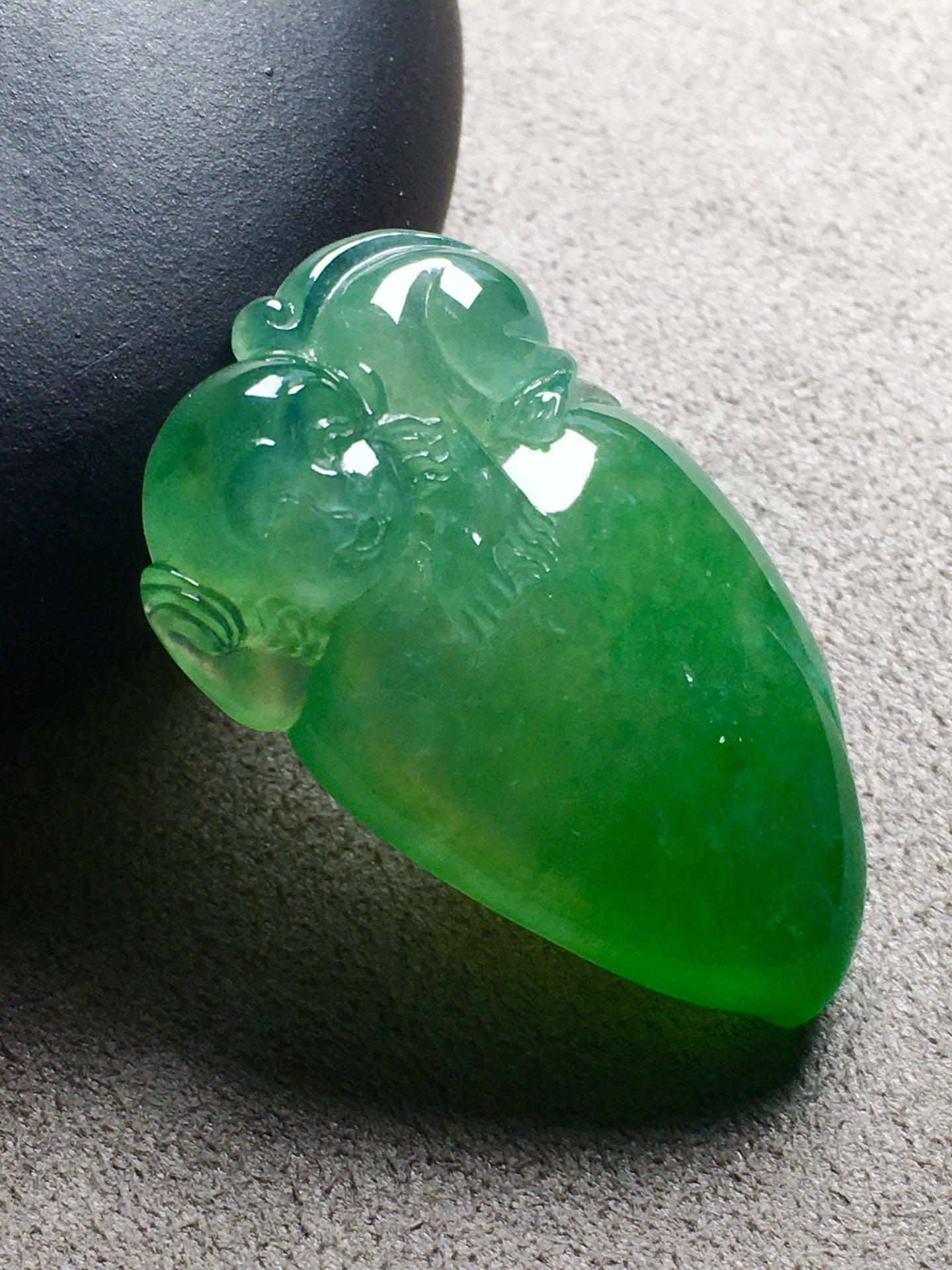 高冰种阳绿福瓜裸石,冰透,裸石:33-20-8