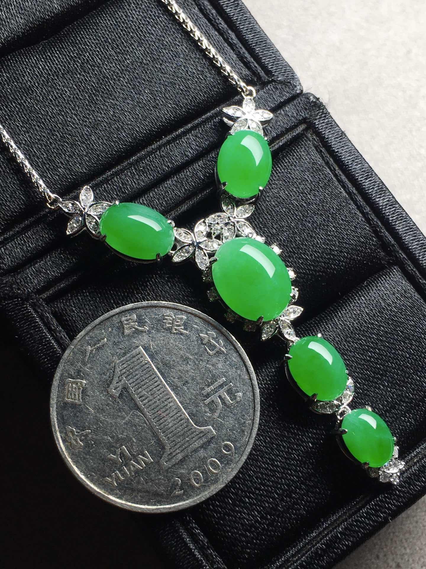 冰阳绿蛋面锁骨项链,裸石大:11-8.8-5,小:7.1-5.6-4第7张