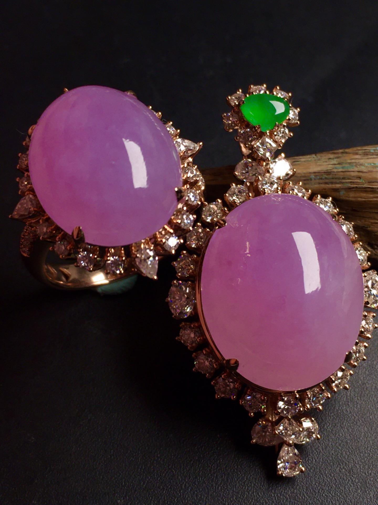 超值,美极了❤【套装,紫罗兰】通透,水润,完美,18k金华奢钻镶石嵌☕第4张