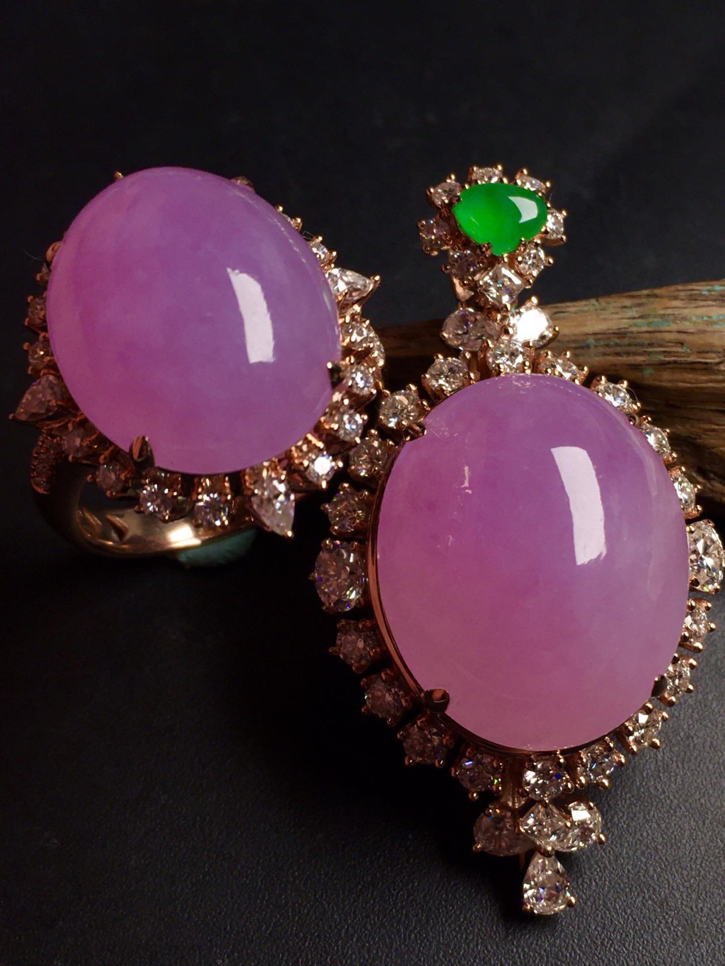 超值,美极了❤【套装,紫罗兰】通透,水润,完美,18k金华奢钻镶石嵌☕第2张