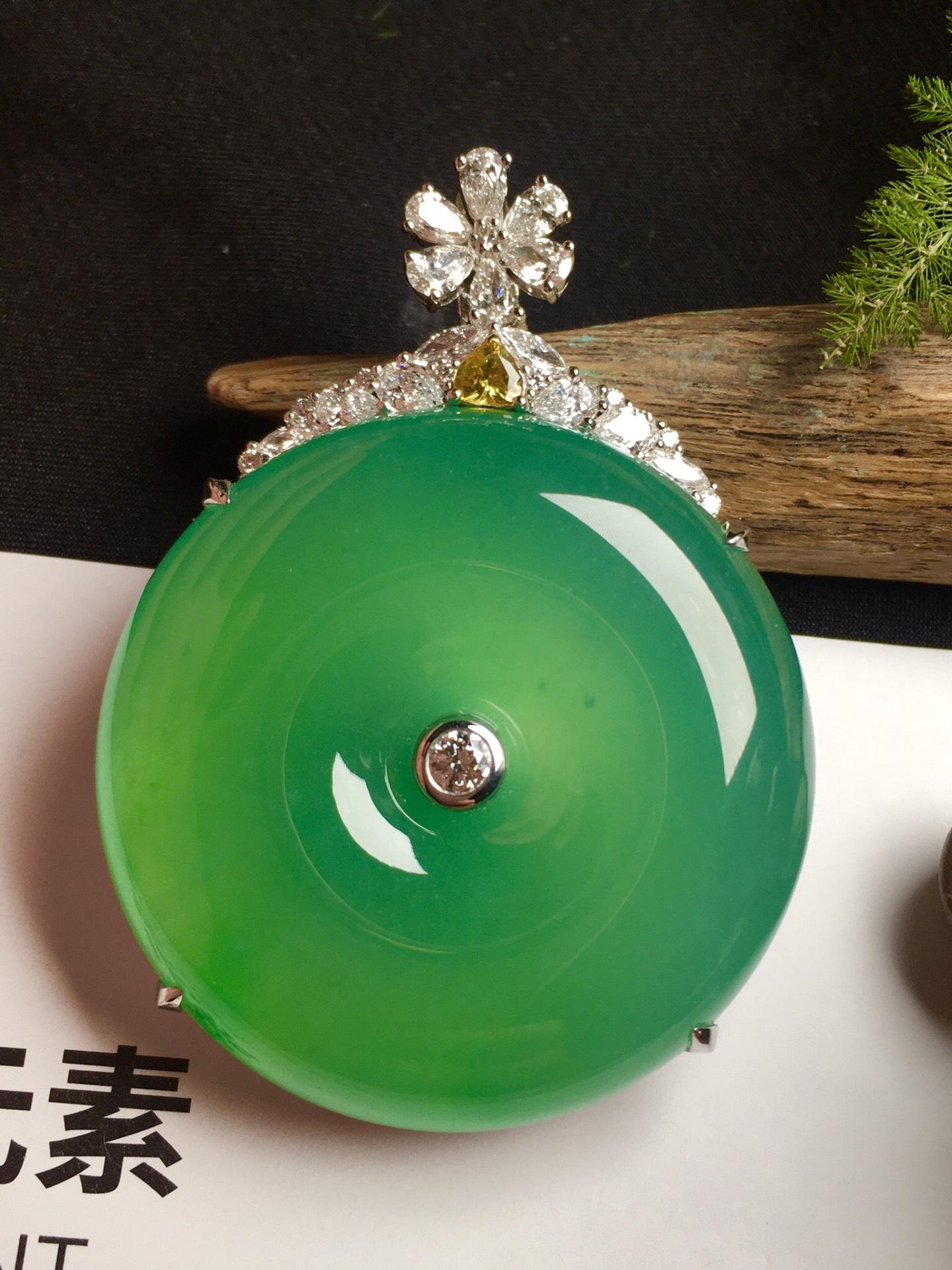 价:【平安扣,冰正阳绿】通透,润水细腻,完美,18k金华奢钻镶石嵌☕第4张