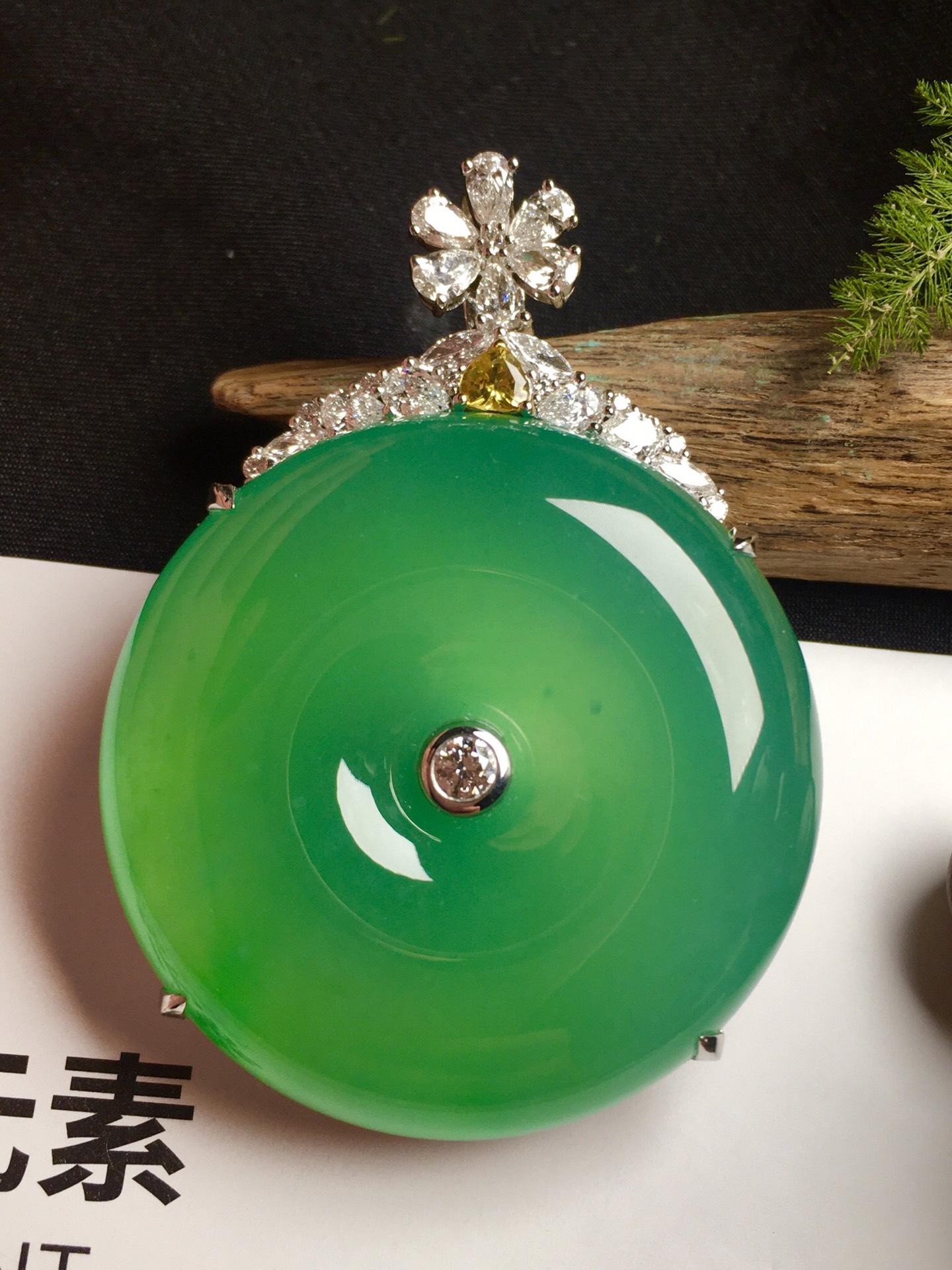 价:【平安扣,冰正阳绿】通透,润水细腻,完美,18k金华奢钻镶石嵌☕第3张