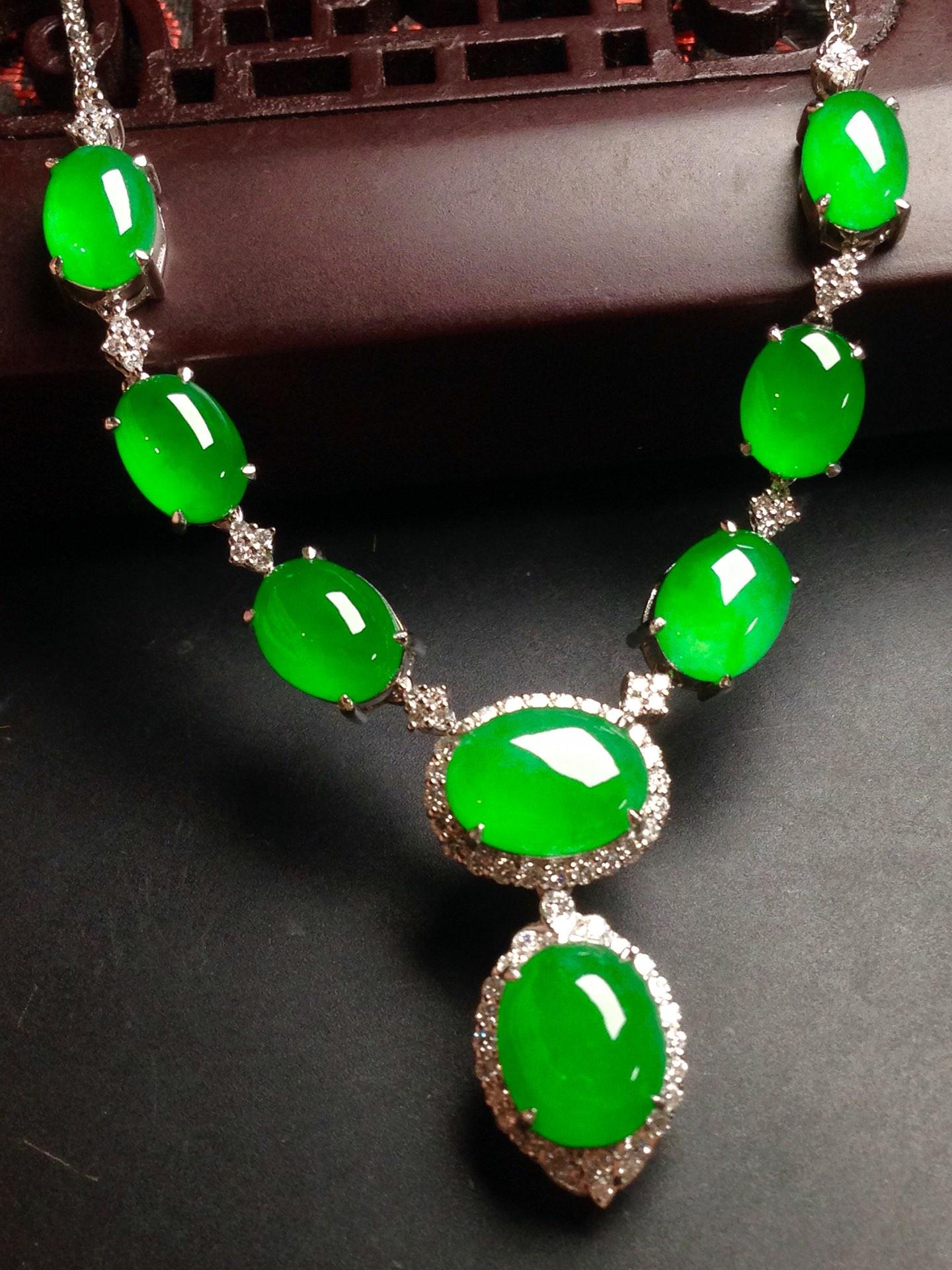 高冰正阳绿晚装链,18k金华奢钻镶石嵌第5张