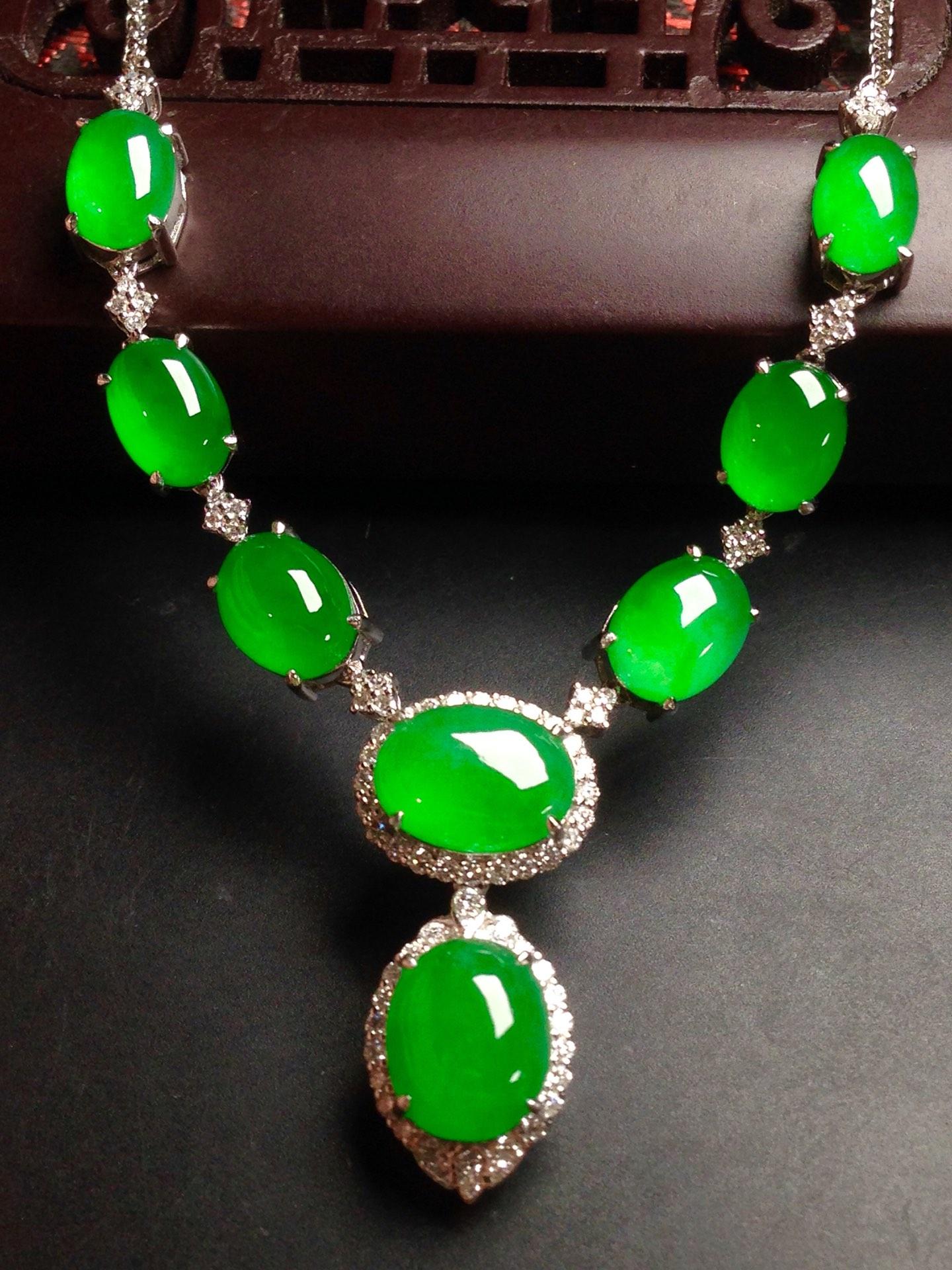 高冰正阳绿晚装链,18k金华奢钻镶石嵌第3张