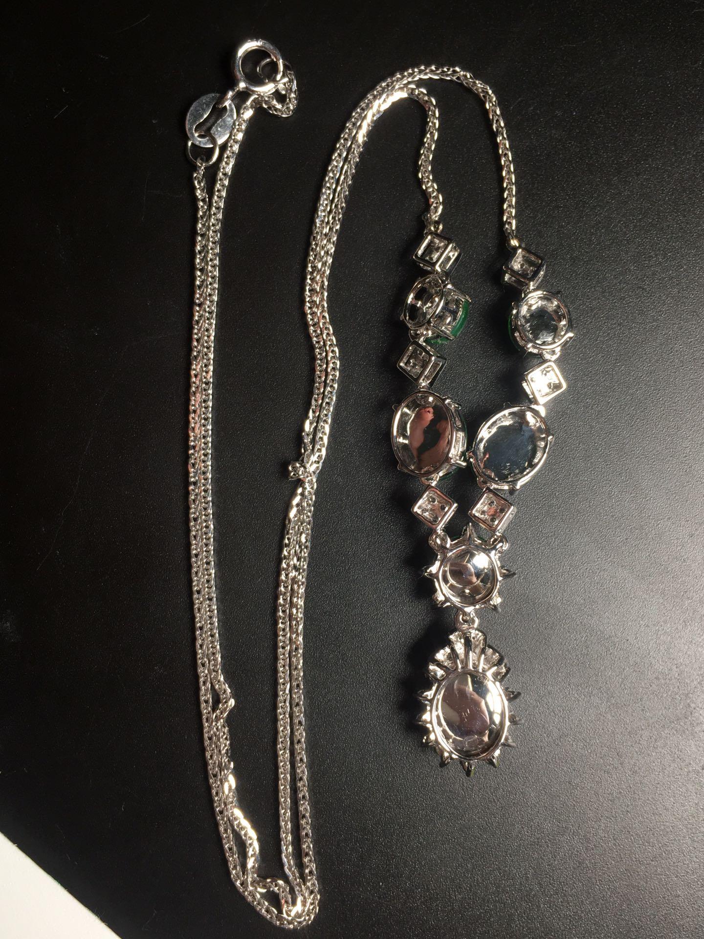 高冰阳绿绿蛋项链,18k金奢华钻石镶嵌第6张