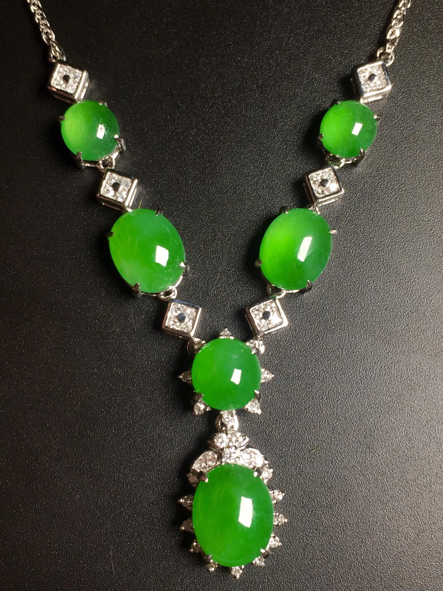 高冰阳绿绿蛋项链,18k金奢华钻石镶嵌第5张