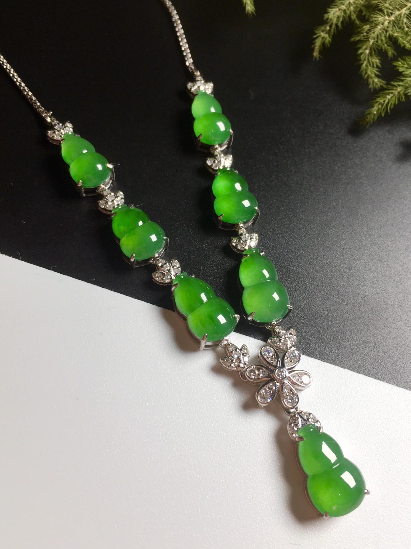 高冰阳绿葫芦项链,18k金奢华钻石镶嵌第4张