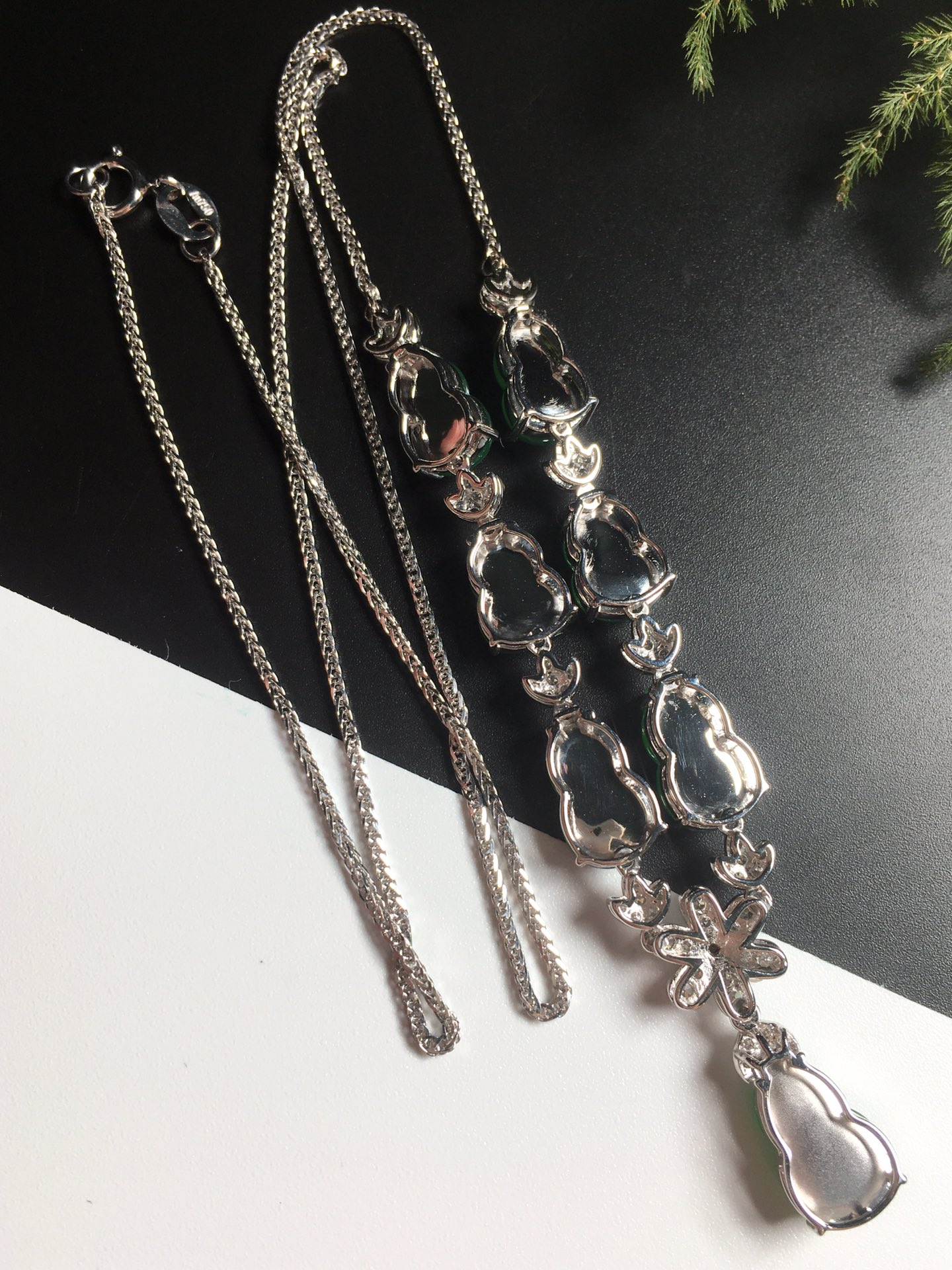 高冰阳绿葫芦项链,18k金奢华钻石镶嵌第6张