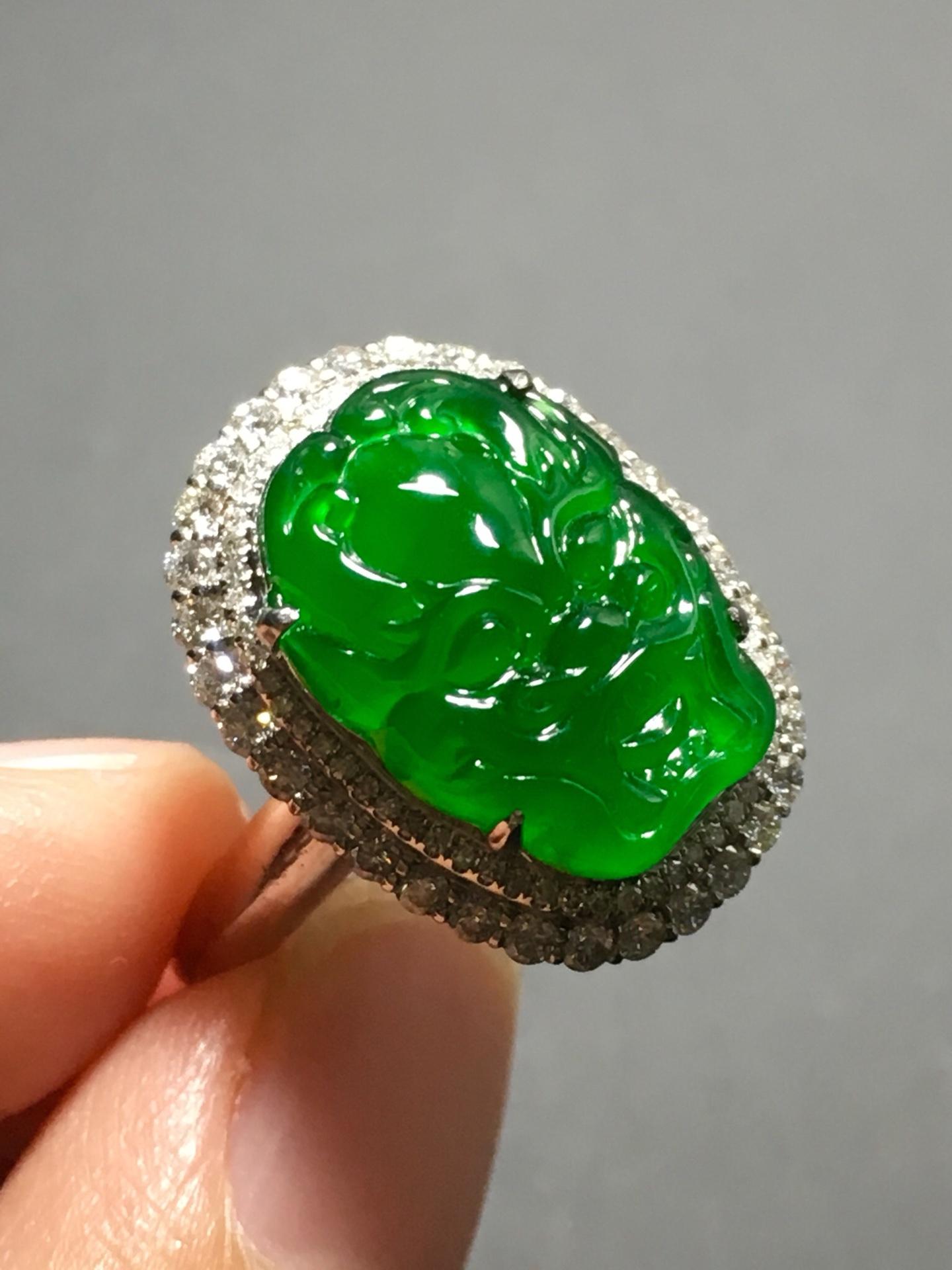 冰种正阳绿龙头戒指,霸气十足第4张