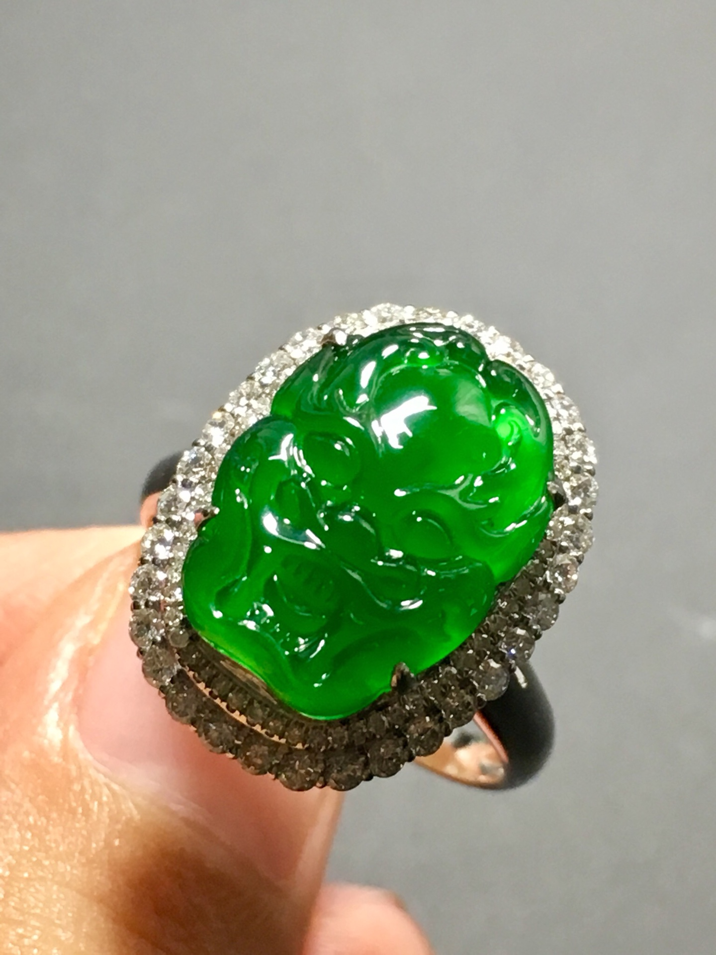 冰种正阳绿龙头戒指,霸气十足第6张