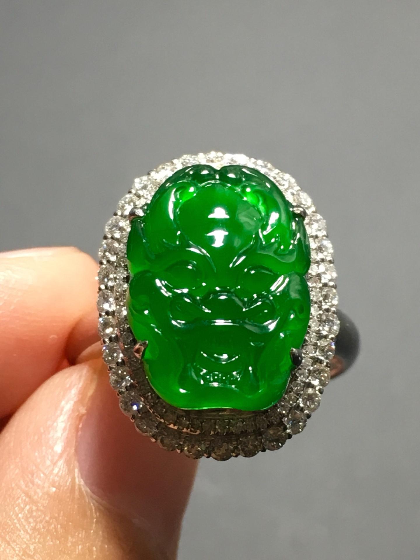 冰种正阳绿龙头戒指,霸气十足第2张