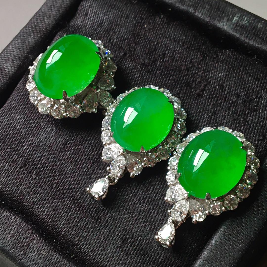 冰阳绿套装,戒指➕耳钉套装第1张