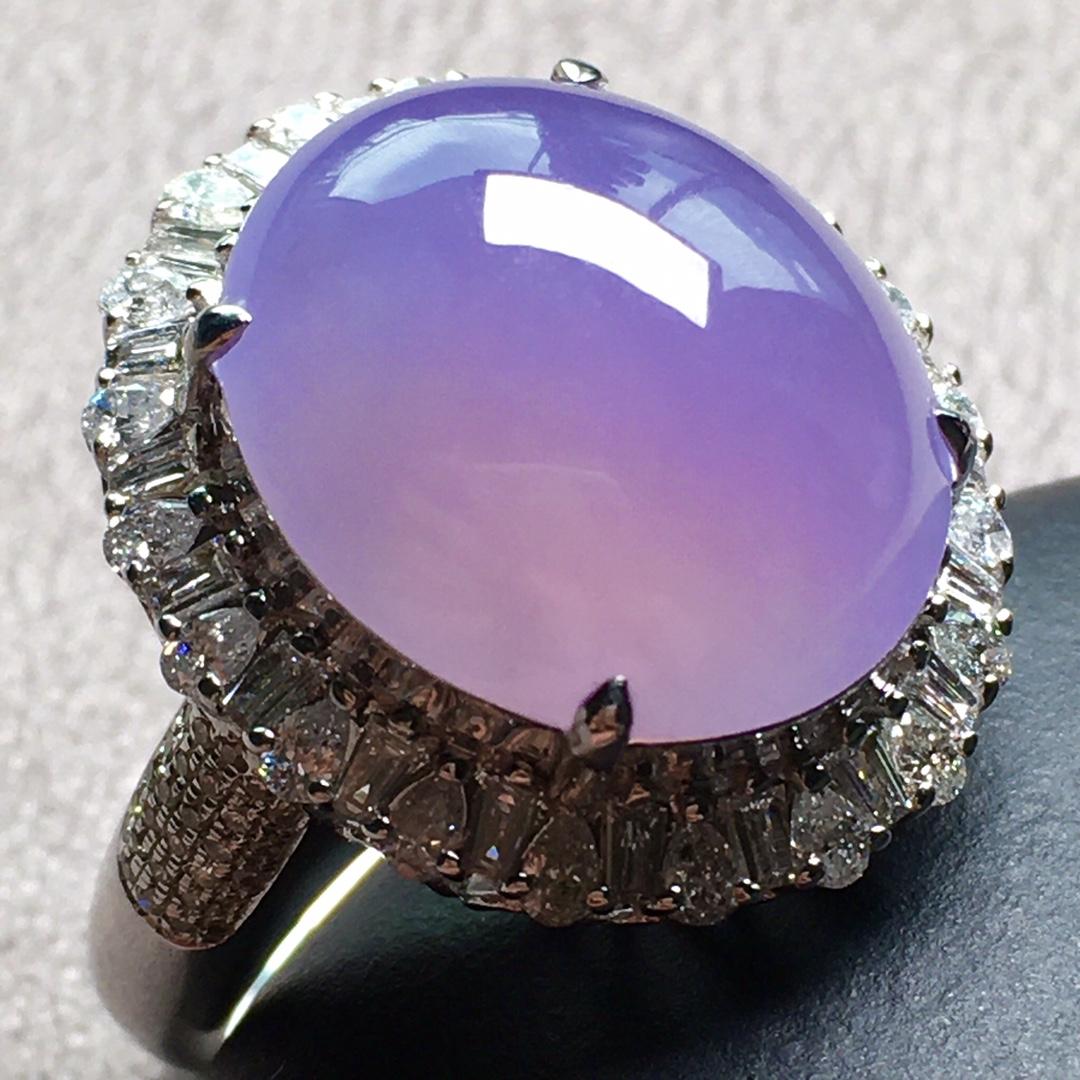 紫罗兰小鸽子蛋戒指,圈口14.5第1张
