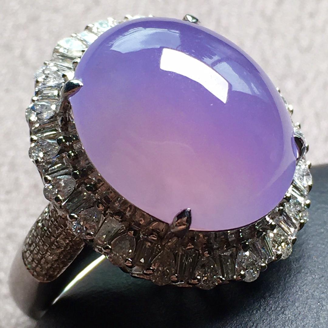 紫罗兰小鸽子蛋戒指,圈口14.5第3张