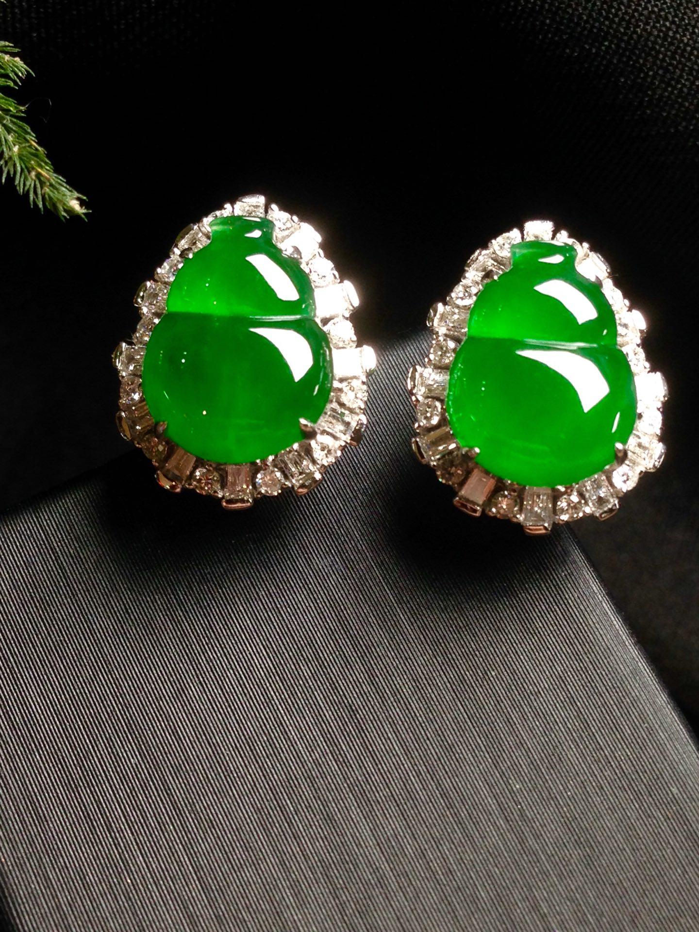 高冰正阳绿葫芦耳钉,18k金华奢钻镶石嵌第3张