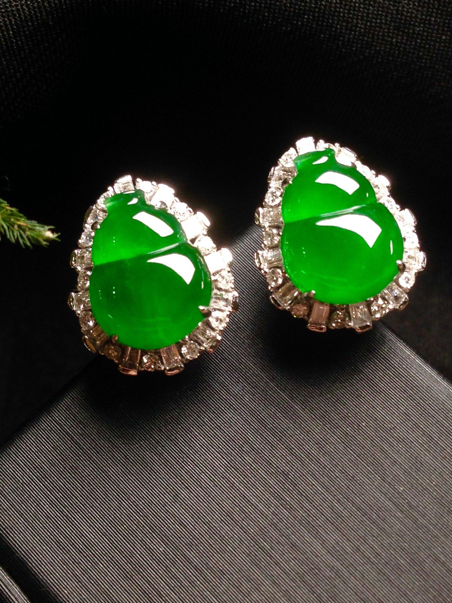 高冰正阳绿葫芦耳钉,18k金华奢钻镶石嵌第5张