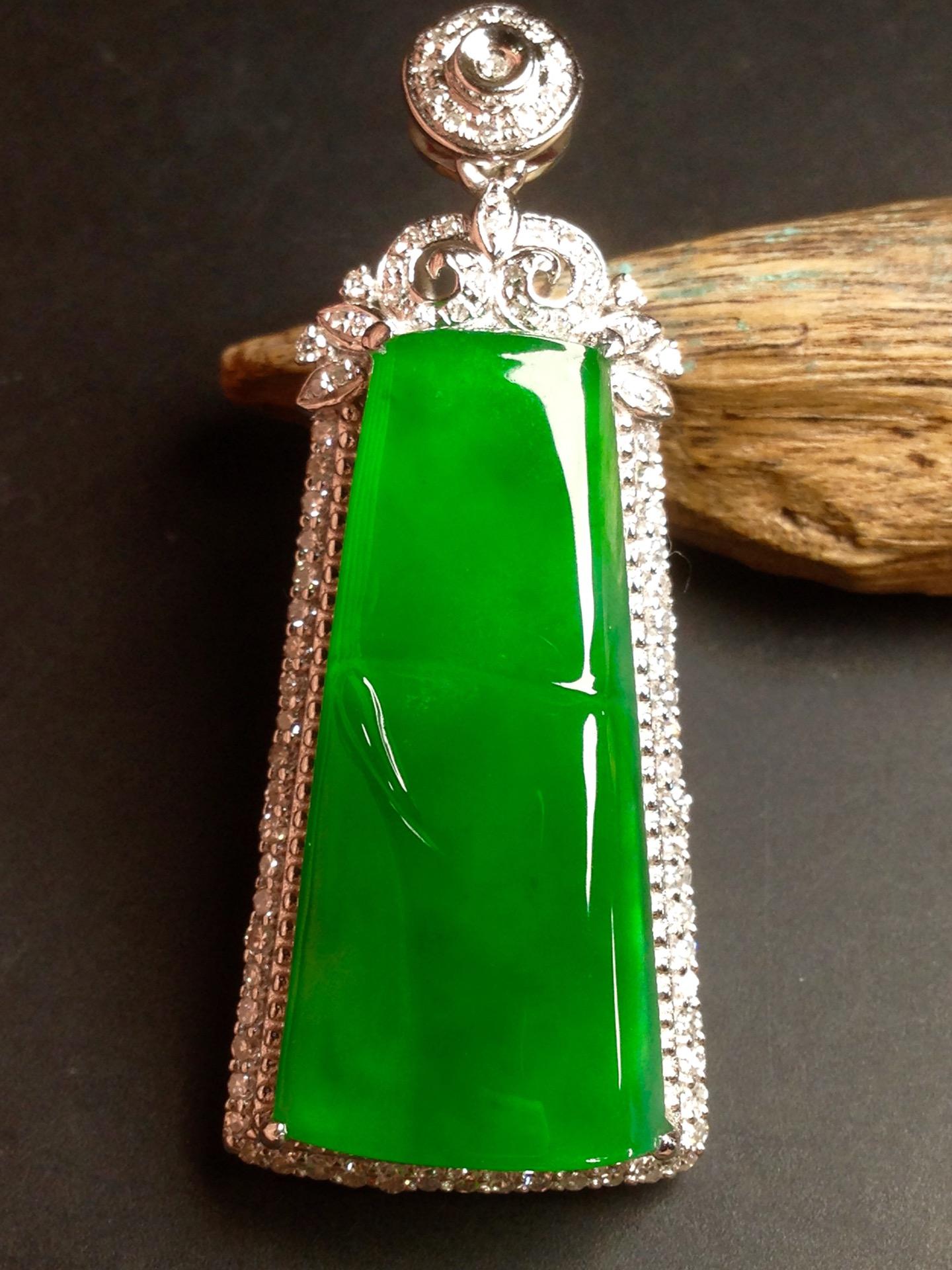 高冰正阳绿大竹节,18k金华奢钻镶石嵌第4张