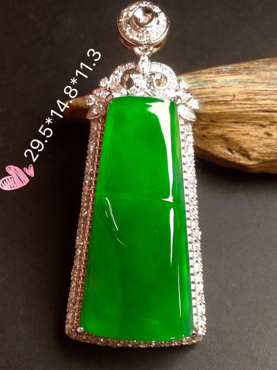 高冰正阳绿大竹节,18k金华奢钻镶石嵌第1张