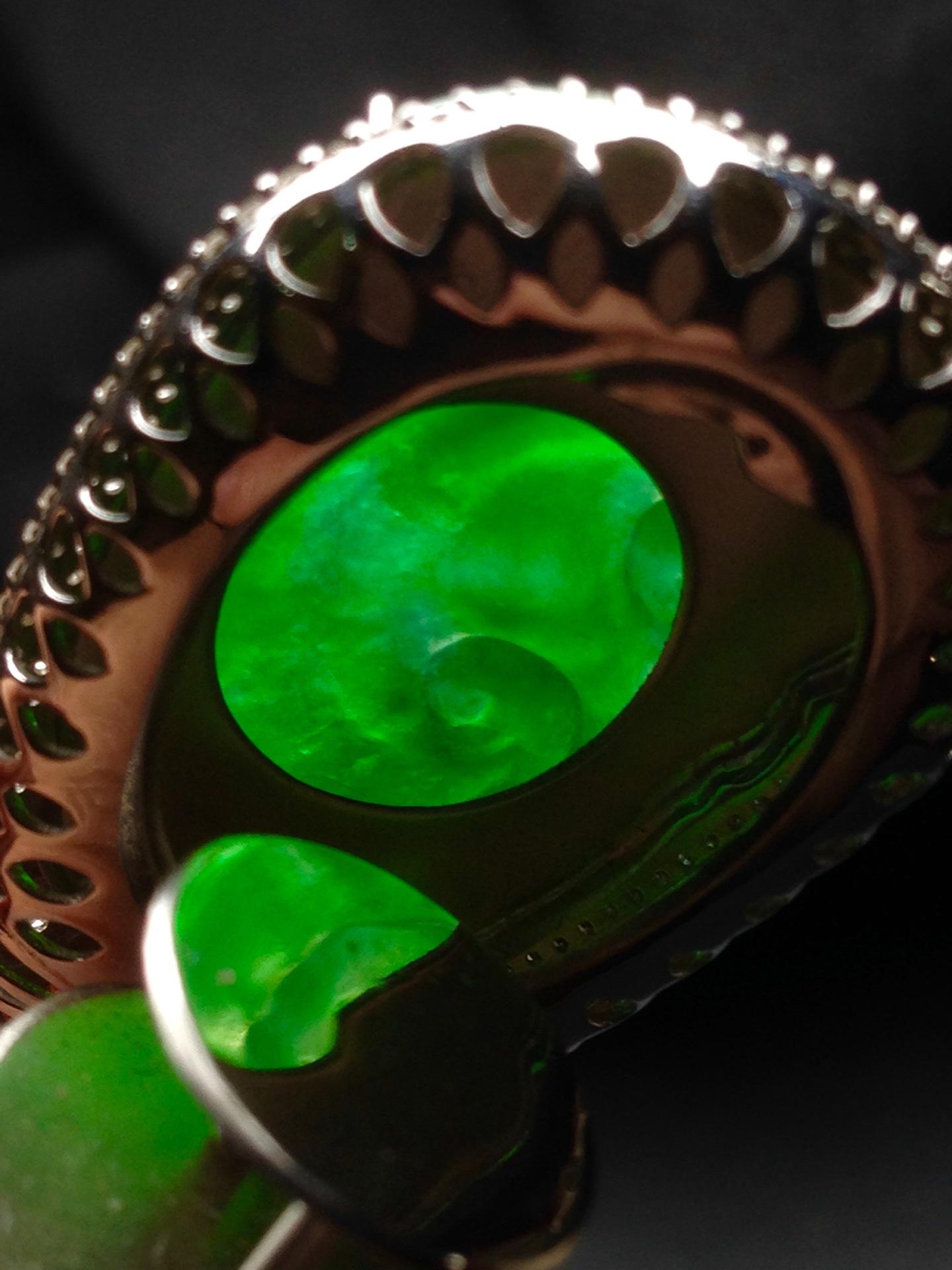 高冰正阳绿如意,18k金华奢钻镶石嵌第6张