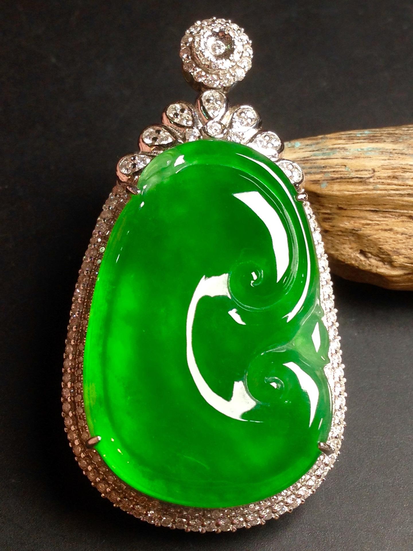 高冰正阳绿如意,18k金华奢钻镶石嵌第5张