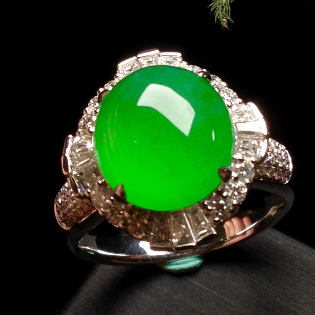 高冰正阳绿大蛋戒指,18k金华奢钻镶石嵌第4张