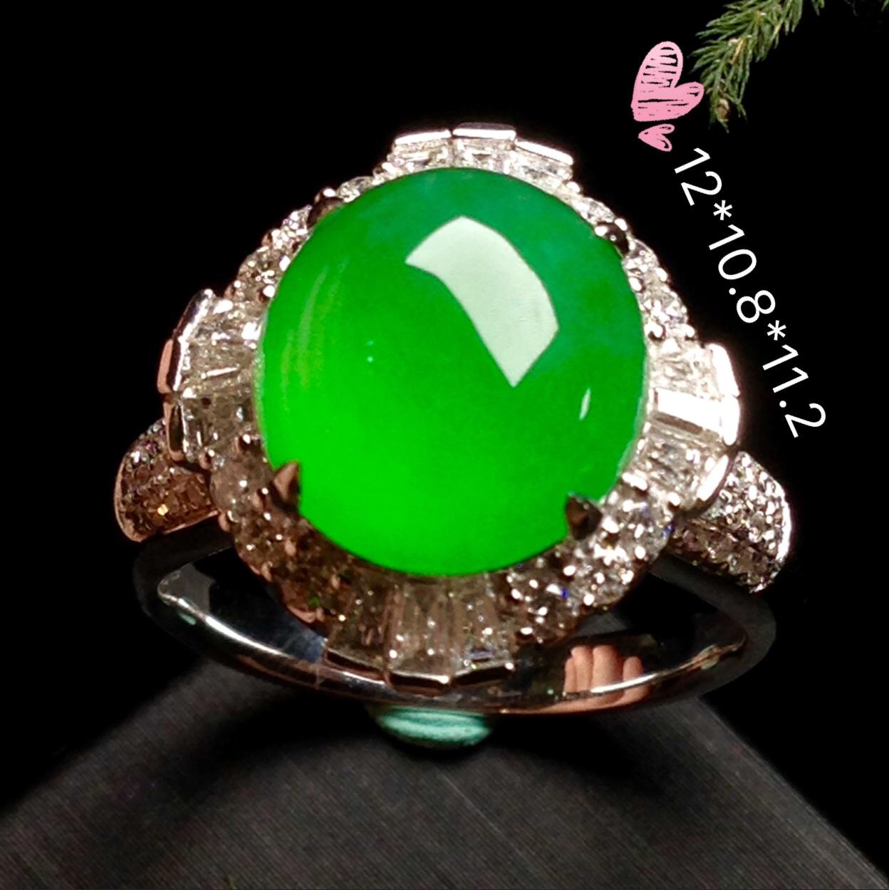高冰正阳绿大蛋戒指,18k金华奢钻镶石嵌第1张