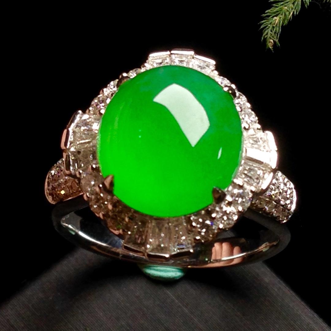高冰正阳绿大蛋戒指,18k金华奢钻镶石嵌第2张