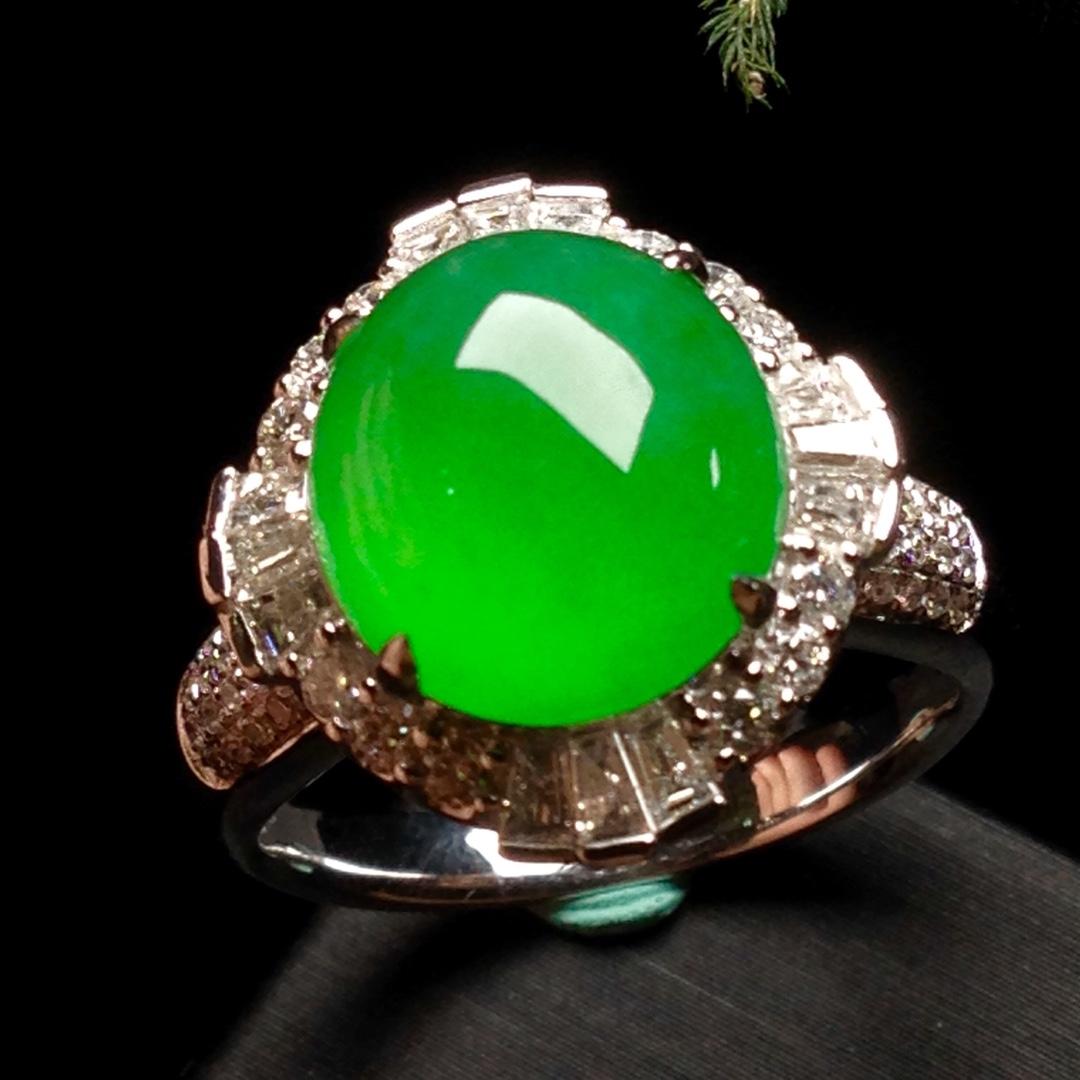 高冰正阳绿大蛋戒指,18k金华奢钻镶石嵌第5张