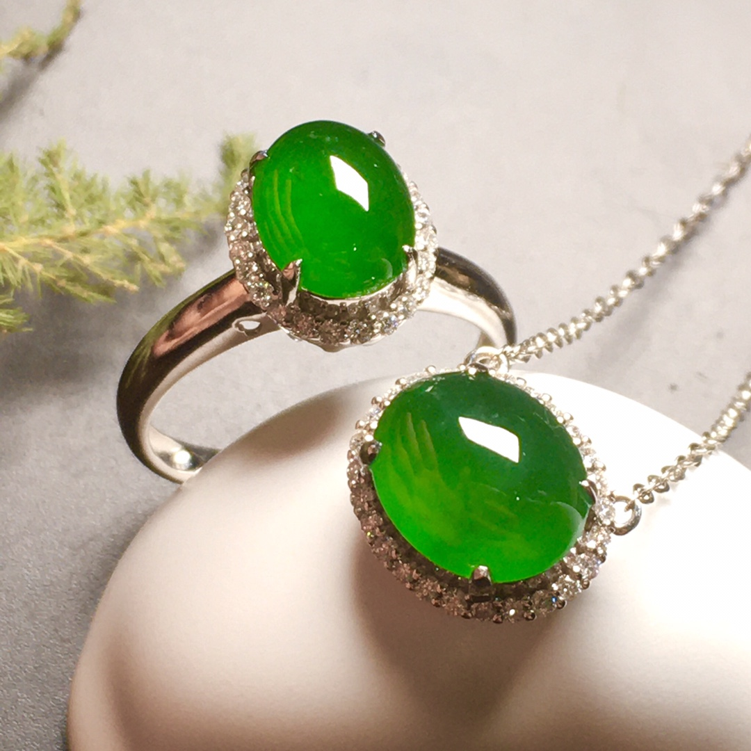 高冰阳绿绿蛋套装,戒指+吊坠第4张