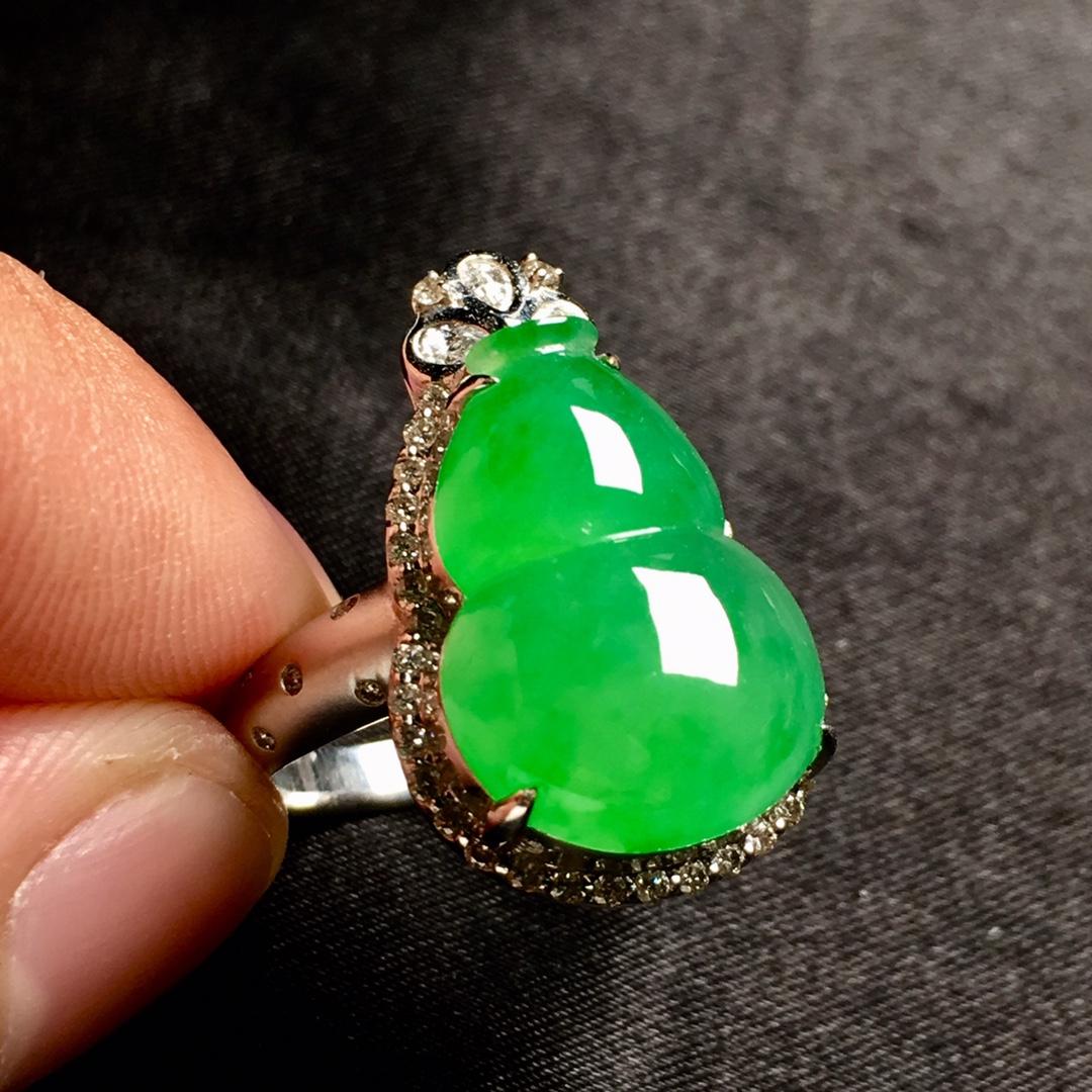 冰阳绿葫芦戒指,内圈17.5,裸石尺寸17-12.3-5第5张