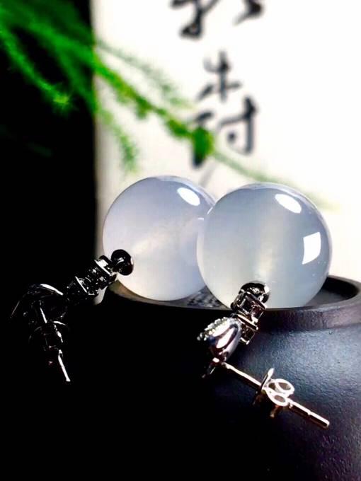白冰珠子耳坠,直径13.8mm,价
