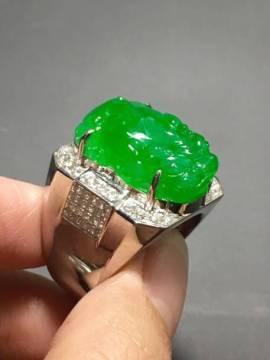 冰种正阳绿貔貅戒指,裸石:20*13*8mm